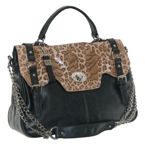 B. Collective Front Flap Satchel Bag With Animal Print Trim